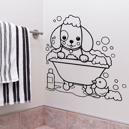 Cute Dog In Bath Bathroom Sticker