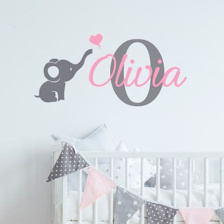 Cute Elephant Name Sticker