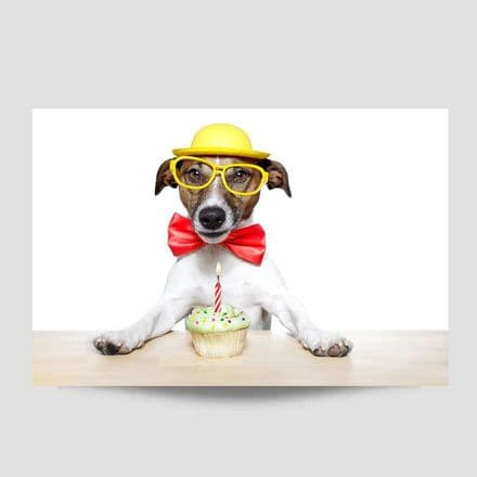 Dog With Birthday Cake Poster
