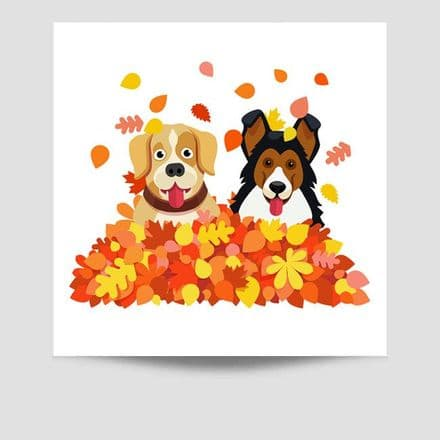 Dogs In Leaf Pile Poster