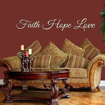 Faith Hope Love Wall Quote Sticker