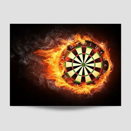 Flaming Dartboard Poster