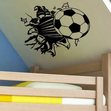 Football Bursting Through Wall Sticker