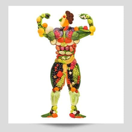 Fruit And Veg Bodybuilder Poster