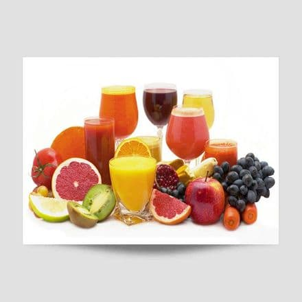 Glasses Of Juice With Fruit Poster