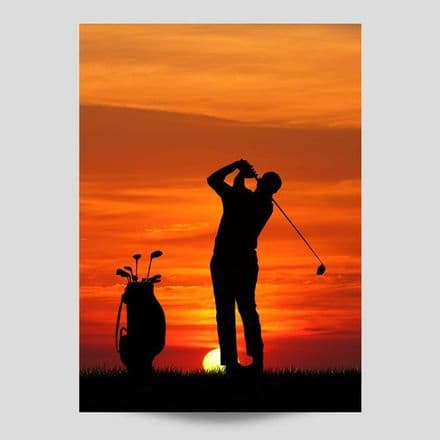 Golfing At Sunset Poster
