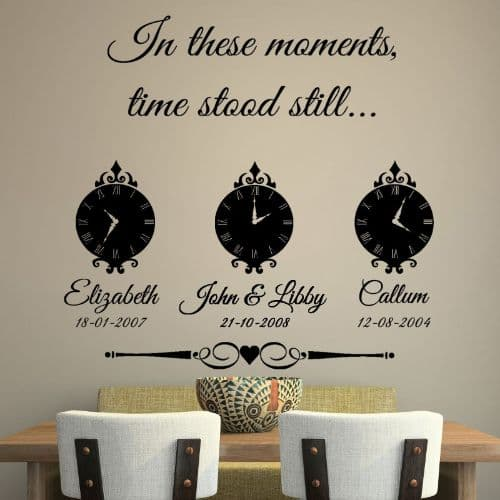 In These Moments Time Stood Still Family Wall Sticker