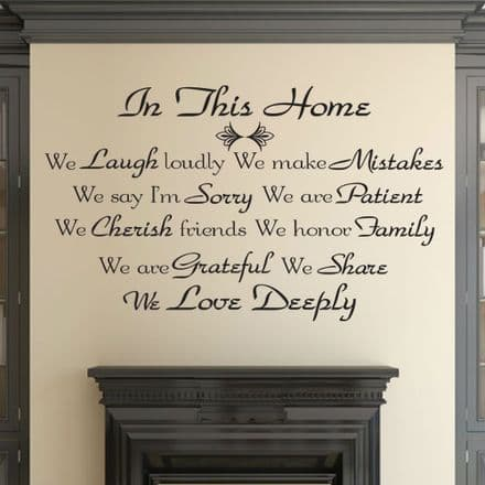 In This Home Family Wall Sticker