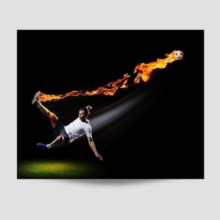 Kicking A Flaming Football Poster