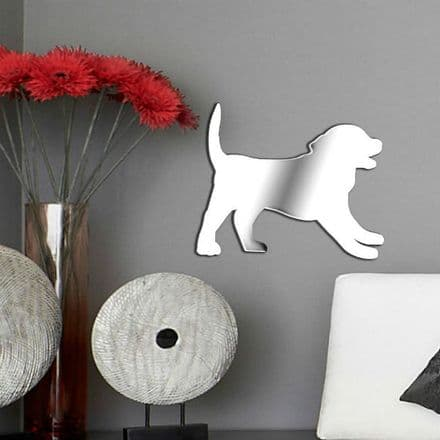 Labrador Puppy Shaped Mirror Shatterproof