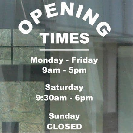 Opening Times Stickers