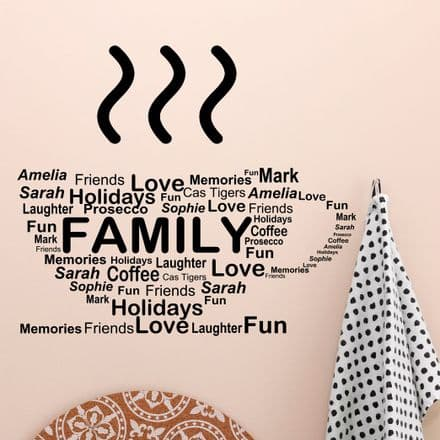 Personalised Mix Words Coffee Cup Family Wall Sticker