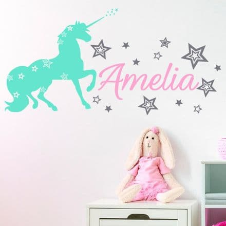 Personalised Unicorn Wall Decal