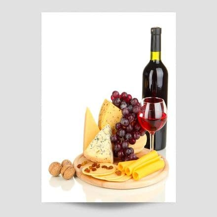 Red Wine With Cheese And Grapes Poster