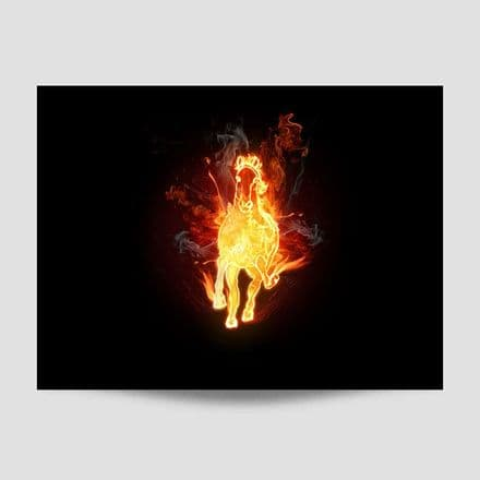 Running Horse On Fire Poster