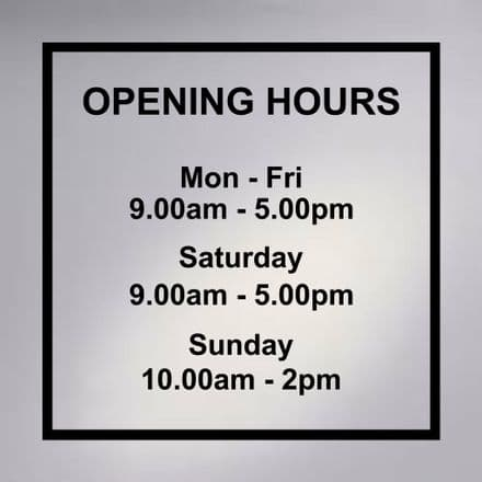 Shop Opening Hours Sign