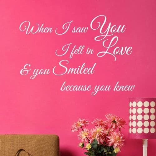 When I Saw You I Fell In Love Wall Sticker