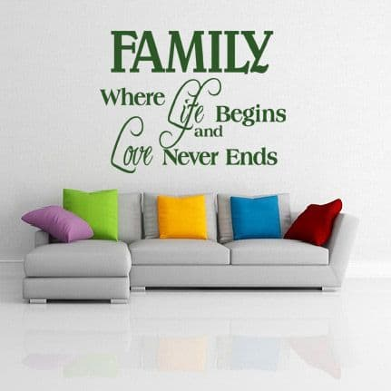 Where Life Begins And Love Never Ends Family Wall Sticker