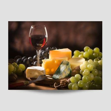 Wine Glass With Cheese And Grapes Wall Art