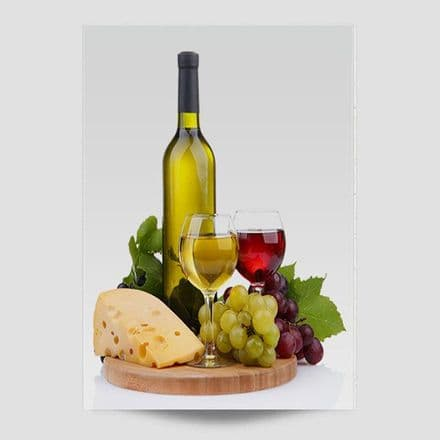 Wine With Cheese And Grapes Poster