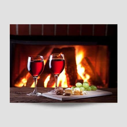 Wine With Cheeseboard Kitchen Poster