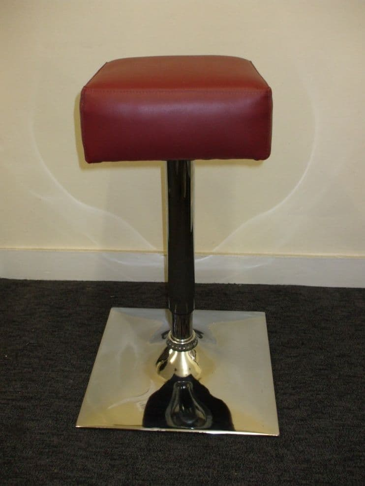 Square Low Stool, Burgundy Faux Leather