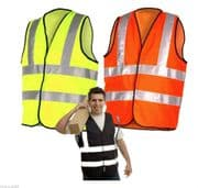 High Viz  Vest  Work Wear Yellow  Orange Black S M L XL 2XL 3XL 4XL 5XL