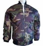 MA1 ARMY CAMOUFLAGE PILOT FLYING MILITARY BOMBER MOD BIKER JACKET COAT MOTOWN