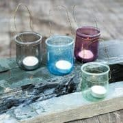Recycled glass tealight holders