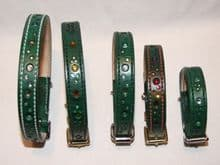 Hand-Made Bridle Leather GREEN Collars