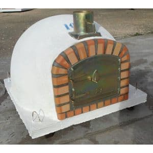 Traditional Handmade Brick Wood Fired Oven 100cm model with Front Chimney Mount