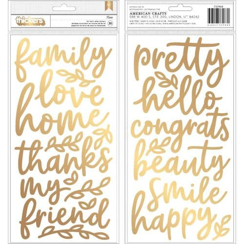 American Crafts - Jen Hadfield Thickers Stickers - Along the Way Phrases