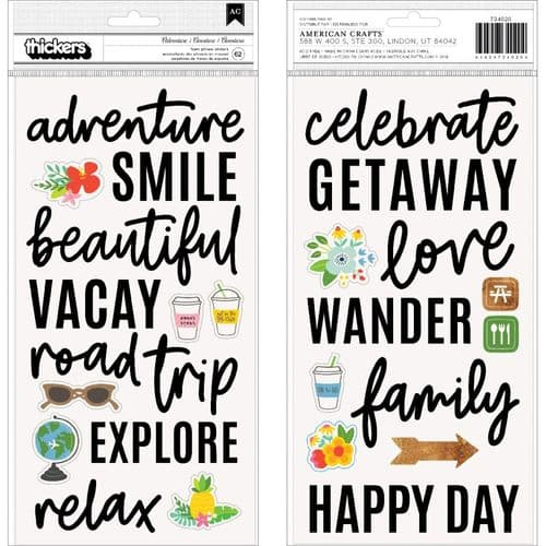 American Crafts - Thickers Stickers - Chasing Adventures Phrases