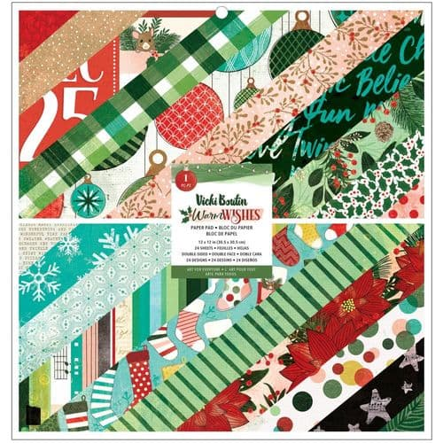 American Crafts - Vicki Boutin Double-Sided Paper Pad 12x12 - Warm Wishes