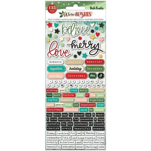 American Crafts - Vicki Boutin Embossed Puffy Stickers - Warm Wishes