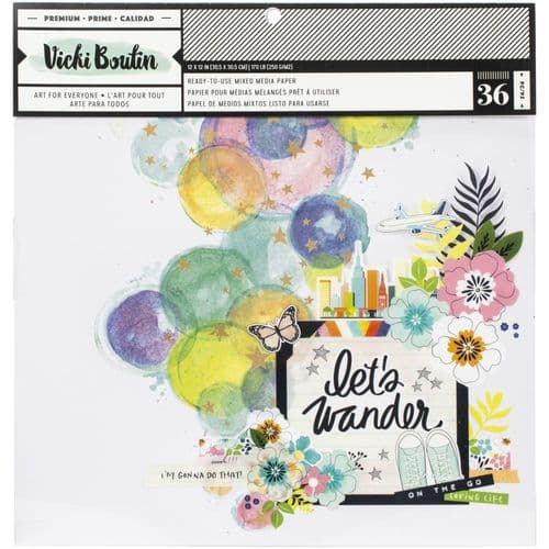 American Crafts - Vicki Boutin Mixed Media Backgrounds Paper 12x12 - Let's Wander
