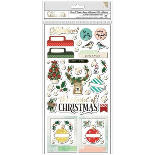 American Crafts - Vicki Boutin Warm Wishes Thickers - Merry & Bright Phrases & Icons