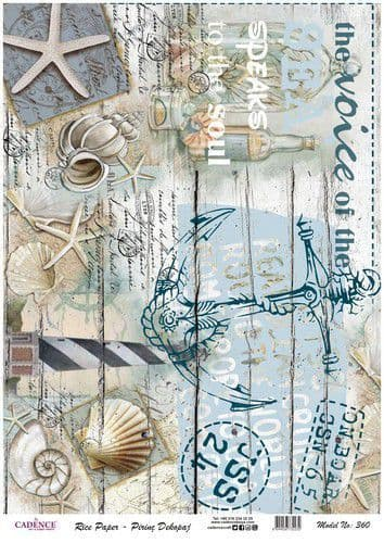 Cadence A3 Rice Paper - Vintage Anchor and Shells no. 360