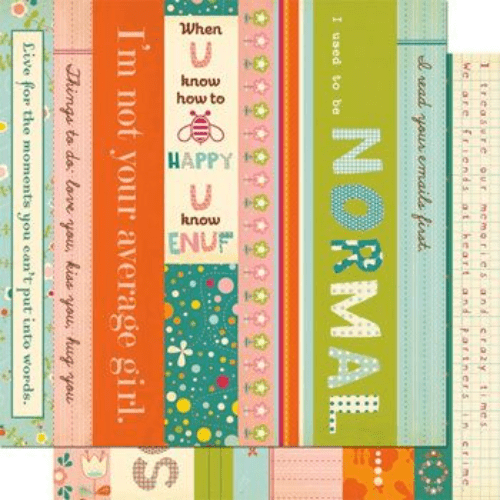 Cosmo Cricket 12x12 Paper - Girl Friday - Borders