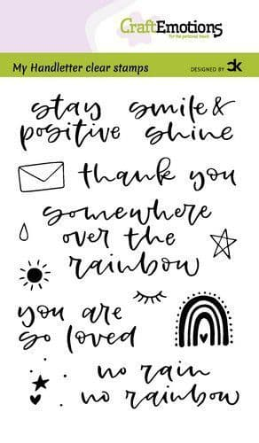 Craft Emotions Clear Stamps A6 - Handletter Rainbow 1 - Carla Creaties