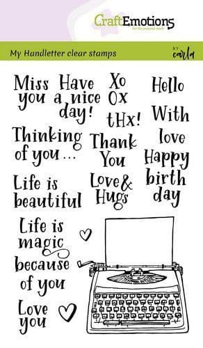 Craft Emotions Clear Stamps A6 - Handletter Typewriter Quotes