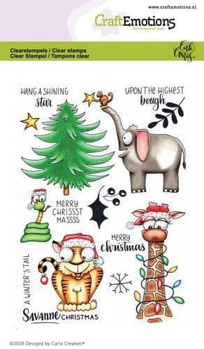 Craft Emotions Clear Stamps A6 - Savanne Christmas - Carla Creaties