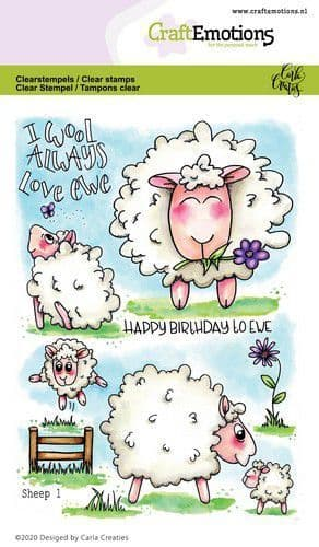 Craft Emotions Clear Stamps A6 - Sheep 1 - Carla Creaties