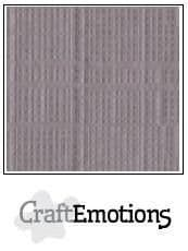 Craft Emotions Linen 12x12 Cardstock - Silver - 001230/1330