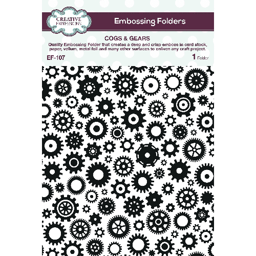 Creative Expressions 5x7 Embossing Folder - Cogs & Gears