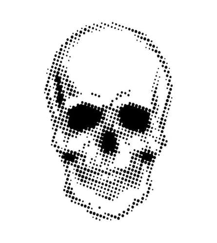 Creative Expressions 7x7 Stencil by Andy Skinner - Half Tone Skull