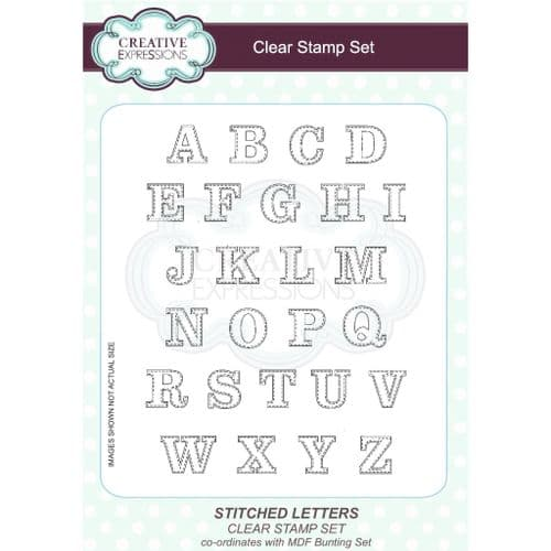 Creative Expressions A5 Clear Stamp Set - Stitched Alphabet