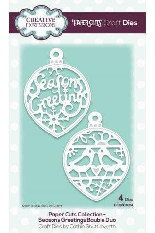 Creative Expressions Craft Dies - Paper Cuts - Seasons Greetings Bauble Duo - CEDPC1024