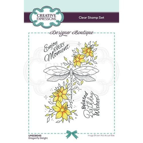 Creative Expressions Designer Boutique Collection A6 Clear Stamp - Dragonfly Delight
