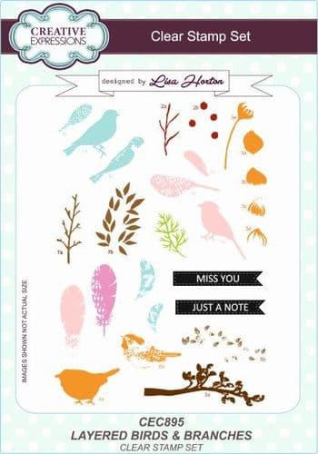 Creative Expressions - Layered Birds & Branches A5 Clear Stamp Set - CEC895